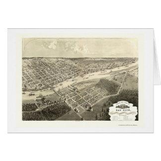 Bay City, mapa panorámico del MI - 1867 Tarjeta De Felicitación