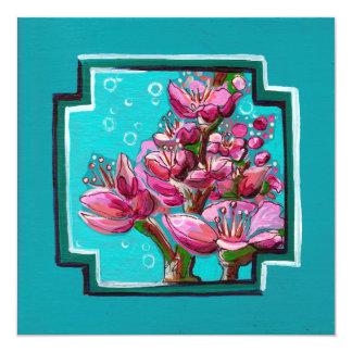 Bayas de la flor de cerezo de la turquesa invitación 13,3 cm x 13,3cm