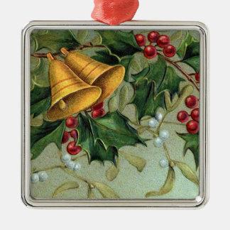 Bayas del acebo del vintage adorno navideño cuadrado de metal