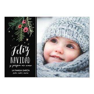 Bayas Rojas el | Feliz Navidad Invitación 12,7 X 17,8 Cm