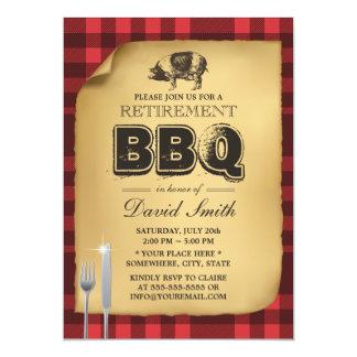 Bbq clásico del fiesta de retiro de la carne asada invitación 12,7 x 17,8 cm