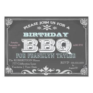Bbq de la pizarra del cumpleaños invitación 12,7 x 17,8 cm