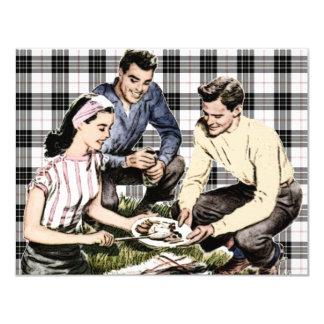 Bbq retro de los años 40 invitación 10,8 x 13,9 cm