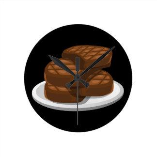 Bbq simple de la comida de la interferencia reloj redondo mediano