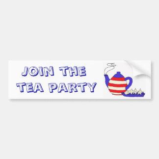 BD únase a al pegatina de la fiesta del té Etiqueta De Parachoque