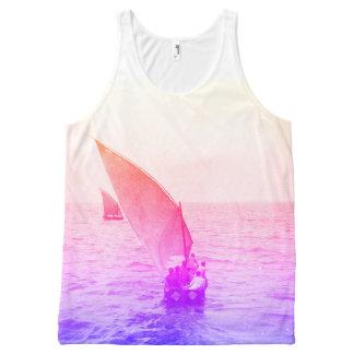Beachwear colorido de la foto del vintage del camiseta de tirantes con estampado integral