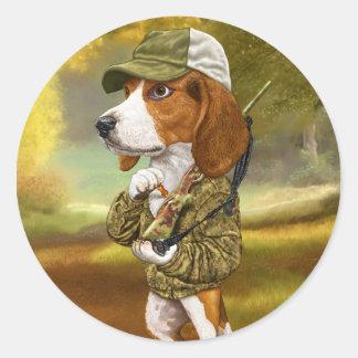 Beagle - cazador poderoso pegatina redonda
