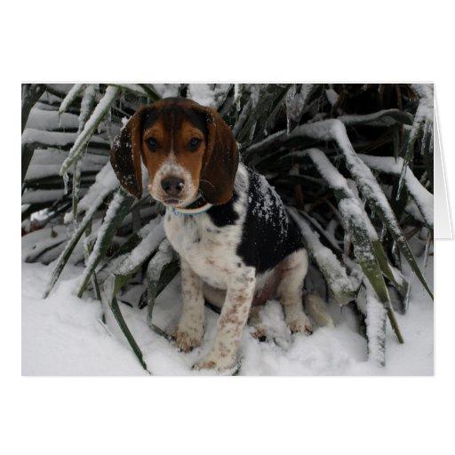 Beagle de la nieve - saludo Snoopy lindo del invie Felicitacion