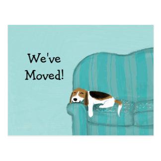 Beagle feliz del sofá con la nueva dirección del postal