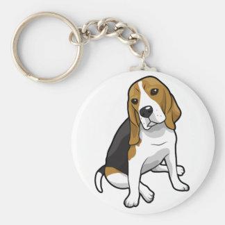 Beagle que se sienta llavero redondo tipo chapa