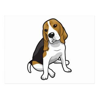 Beagle que se sienta postal