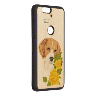 Beagle y rosas amarillos fundas de madera para nexus s6p