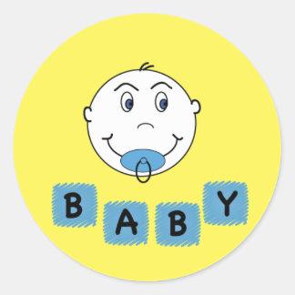 Bebé con Binky Pegatina Redonda