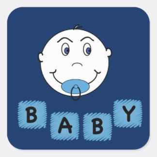 Bebé con Binkyy Pegatina Cuadrada