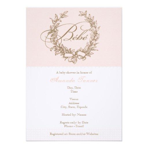 Bebe de encargo - invitación francesa rosada de la