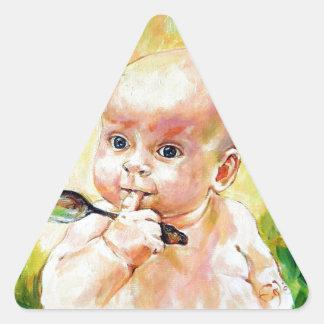 Bebé de la mariposa pegatina triangular