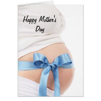 Bebé de la mujer embarazada del día de madre tarjeta de felicitación