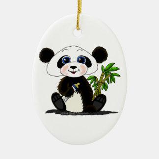 Bebé de la panda adorno ovalado de cerámica