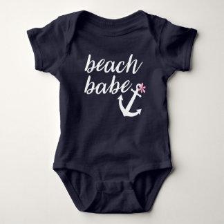 Bebé de la playa - el equipo de la niña. Ancla. Body Para Bebé