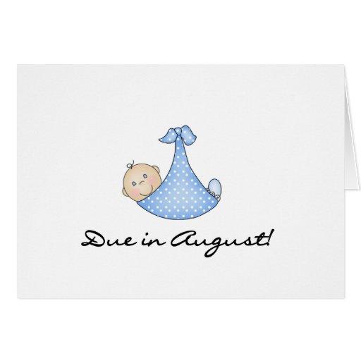 Bebé debido en agosto tarjeton