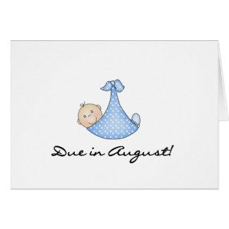 Bebé debido en agosto tarjeta de felicitación