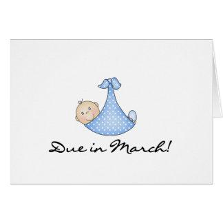 Bebé debido en marzo tarjeta de felicitación