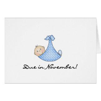 Bebé debido en noviembre tarjeta de felicitación