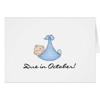 Bebé debido en octubre tarjeta de felicitación