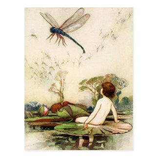 Bebé del agua y mosca del dragón postal