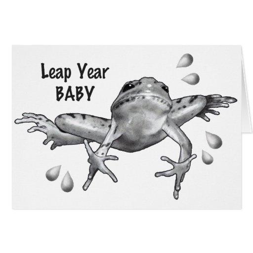 Bebé del año bisiesto: Salto de la rana en lápiz Felicitación de ...
