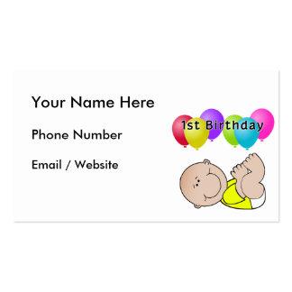 Bebé del feliz cumpleaños en amarillo tarjetas de visita