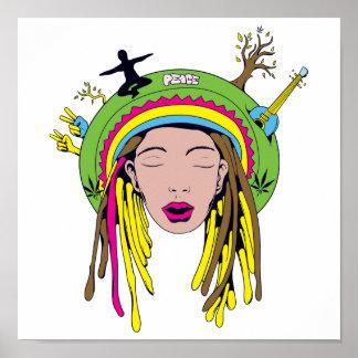 bebé del hippie del rasta póster