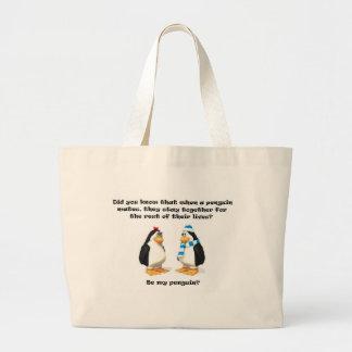 bebé del pingüino bolsa de tela grande