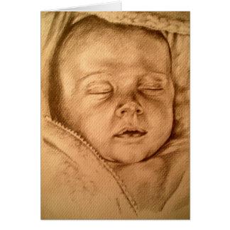 Bebé durmiente tarjeta de felicitación