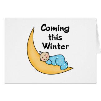 Bebé el invierno de la luna tarjeta de felicitación