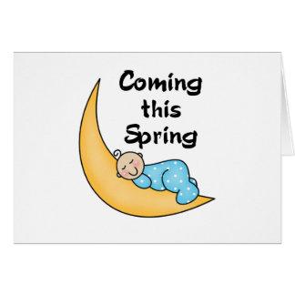 Bebé el la primavera de la luna felicitación