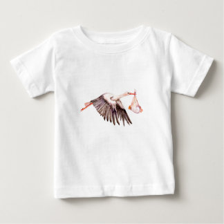 Bebé en cigüeña camiseta de bebé