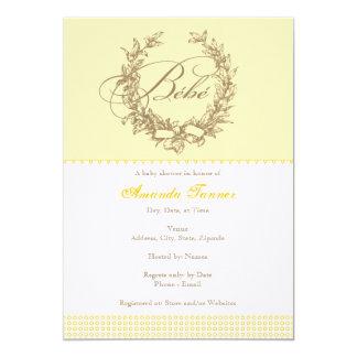 Bebe - invitación francesa amarilla de la fiesta