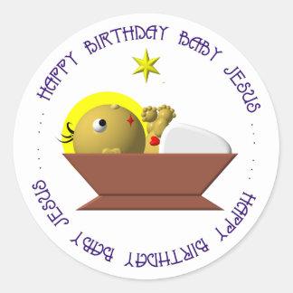 Bebé Jesús del feliz cumpleaños Etiquetas Redondas