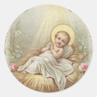 Bebé Jesús en el pesebre Pegatina Redonda