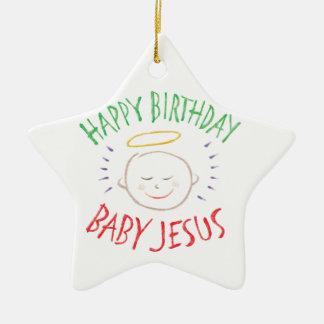 Bebé Jesús - estrella del feliz cumpleaños del Adorno Navideño De Cerámica En Forma De Estrella