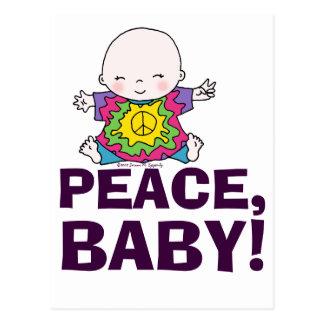 Bebé lindo de la paz del teñido anudado del postal