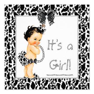 Bebé lindo del Brunette de la impresión de la vaca Invitación 13,3 Cm X 13,3cm