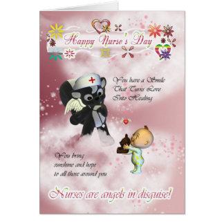 Bebé lindo del día de la enfermera pequeño y tarjeta de felicitación