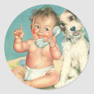 Bebé lindo del vintage que habla en perro de pegatina redonda