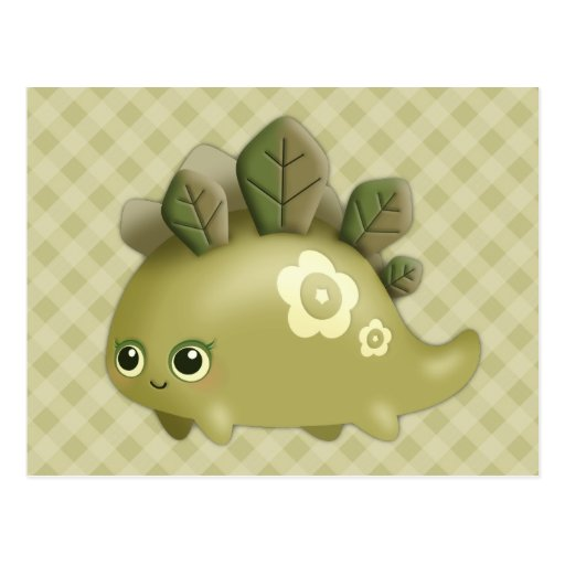 Bebé lindo Dino frondoso - criatura del estilo del Postal