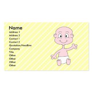 Bebé lindo que agita, en rayas amarillas. tarjetas de visita
