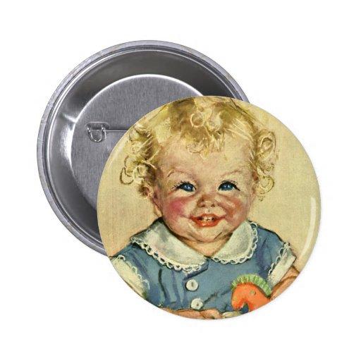 Bebé o chica escandinavo rubio lindo del vintage pins
