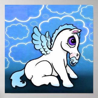 Bebé Pegaso con - azul - la impresión binky Póster