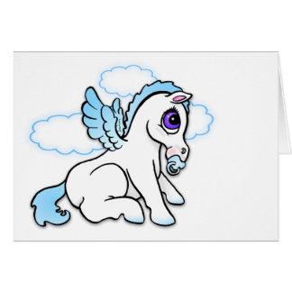 Bebé Pegaso con el azul del binky- - tarjeta